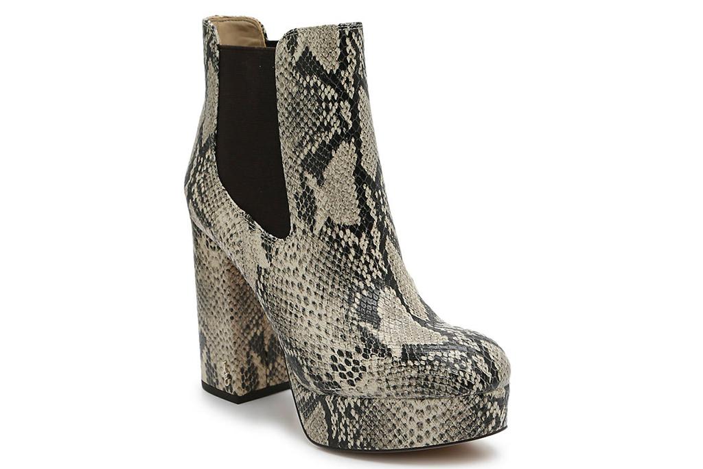 snakeskin, python, boots, booties, platform, heel, sam edelman