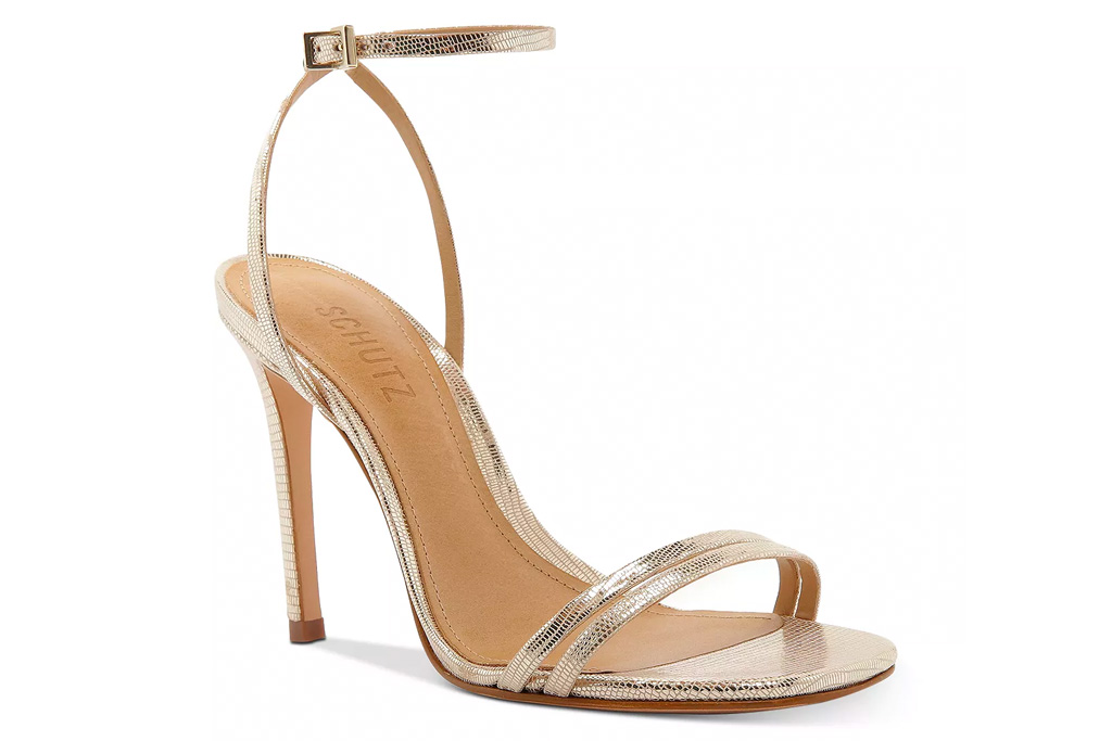 gold sandals, stiletto, gold, heels, schutz