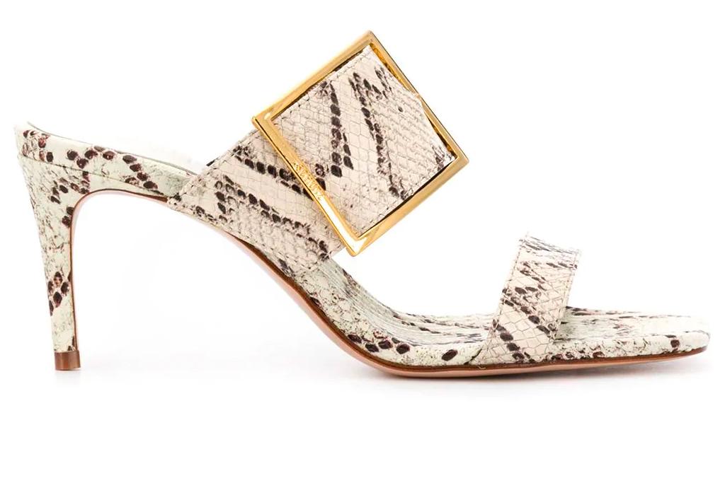 snakeskin sandals, sandals, mules, straps, python, schutz