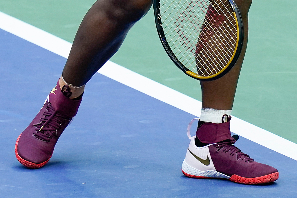 serena williams, us open, red, nike, dress, skirt, shoes, tennis