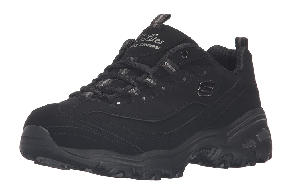 sneakers, black, chunky, platform, dad shoe, skechers