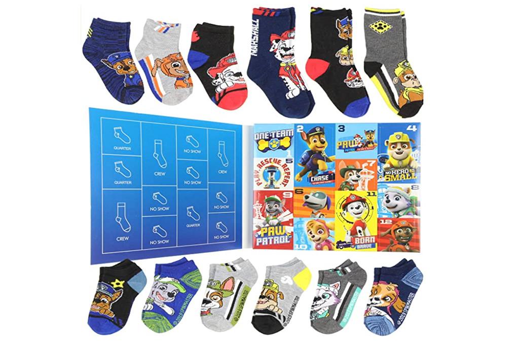 paw patrol sock advent calendar, kids sock calendar, sock advent calendar