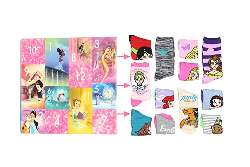 princess sock calendar, kids sock advent calendar, sock advent calendar