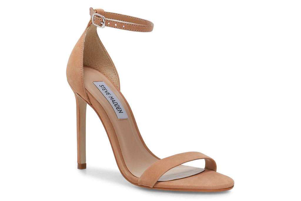 nude, sandals, heel, stiletto, thin strap, steve madden