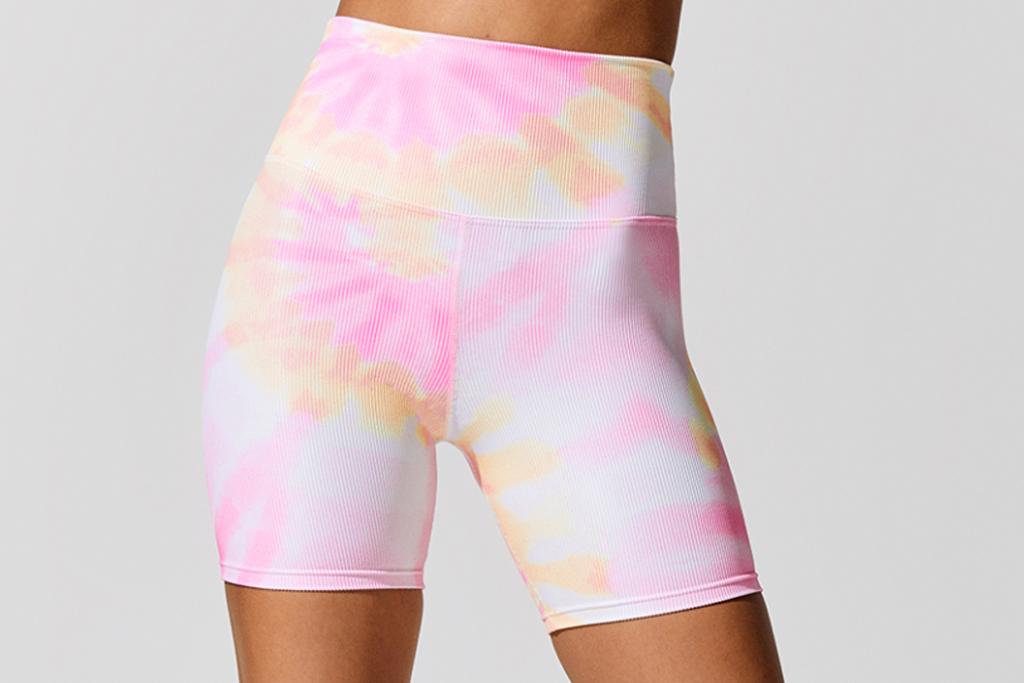 biker shorts, tie-dye, rainbow
