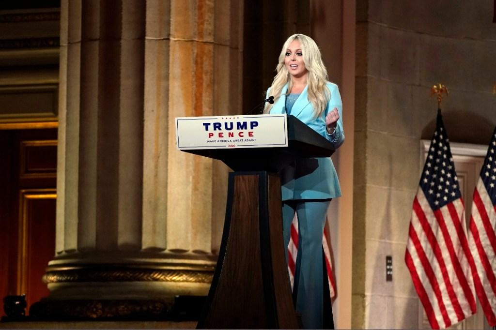 tiffany trump, dnc, democratic national convention, shoes, suit, blue