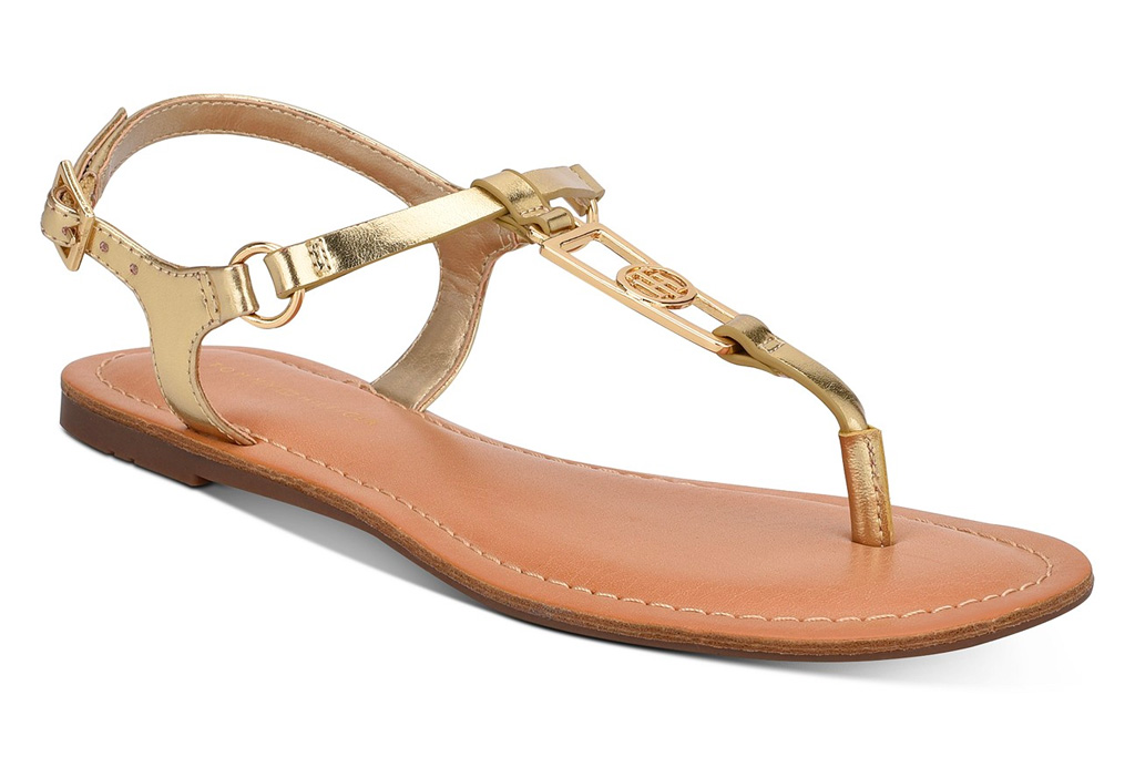 gold sandals, t strap, thong toe, gold, tommy hilfiger