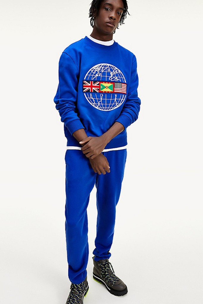 tommy x lewis, Tommy x Lewis Organic Cotton Globe Sweater. blue sweater