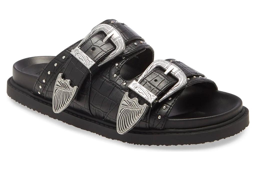 black sandals, double strap, topshop