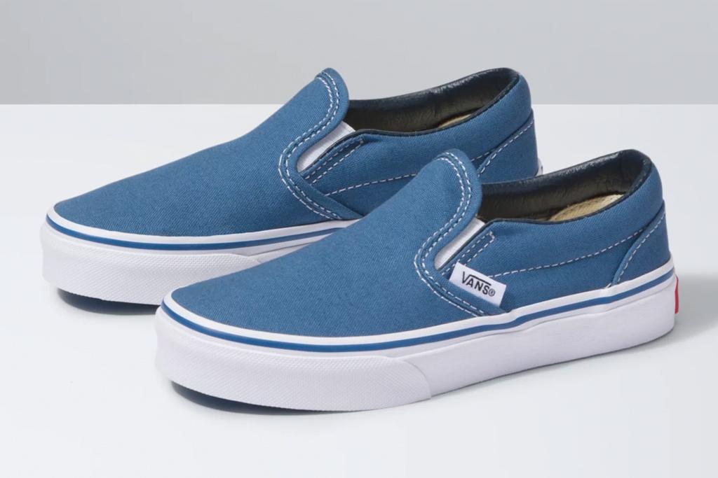 kids shoes, slip on, blue, laceless, vans