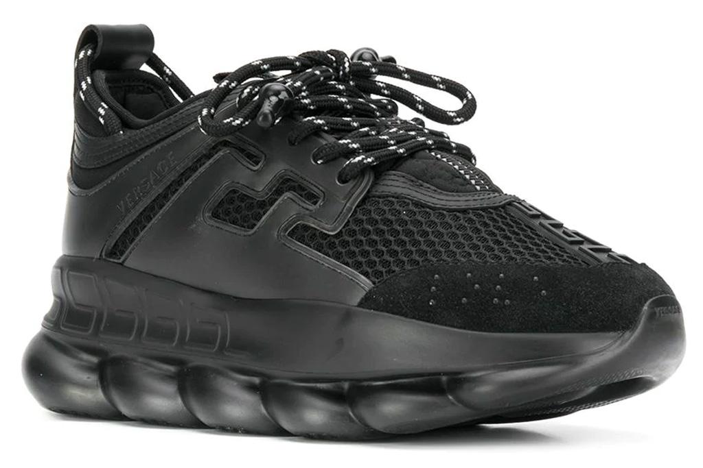 versace, chunky sneakers, black, chain, platform