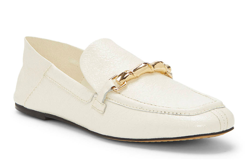 white loafers, loafers, driving shoes, gold, vince camuto