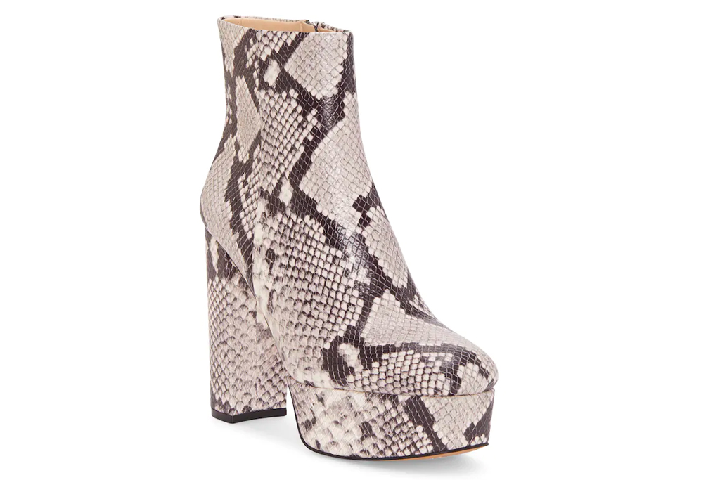 snakeskin, python, boots, booties, platform, heel, vince camuto