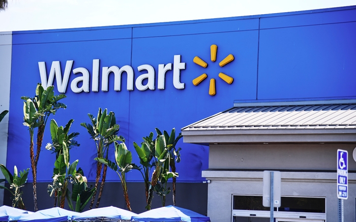 The storefront of Walmart in Los Angeles, California on August 18, 2020.