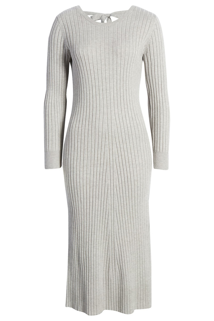 wayf grey sweater dress, wayfxbff, wayf x bff nordstrom
