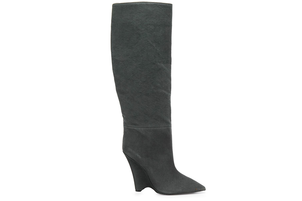 yeezy, boots, suede, brown, gray, wedge