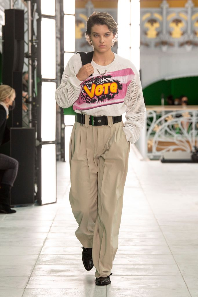 louis vuitton, louis vuitton, vuitton bag, vote, election 2020, presidential election, 2020 election, vote tee, vote t-shirt, pfw, paris fashion week