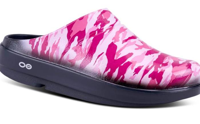 Pink Camo Pack, oofos breast cancer awareness month shoes