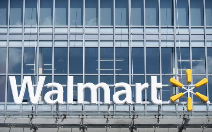 UNITED STATES - APRIL 16: Walmart sign at the company's store on H Street NW in Washington on Thursday, April 16, 2020. (Photo By Bill Clark/CQ Roll Call via AP Images)