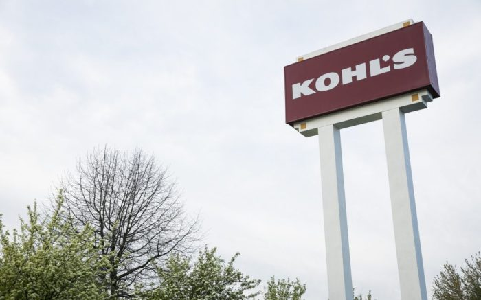A logo sign outside of a Kohl's retail store location in Wilmington, Delaware on May 4, 2020. (Photo by Kristoffer Tripplaar/Sipa USA)(Sipa via AP Images)