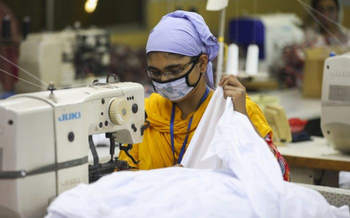 Ready made garments worker works in a garments factory in Dhaka, Bangladesh on July 25, 2020. (Photo by Salahuddin Ahmed/Sipa USA)(Sipa via AP Images)