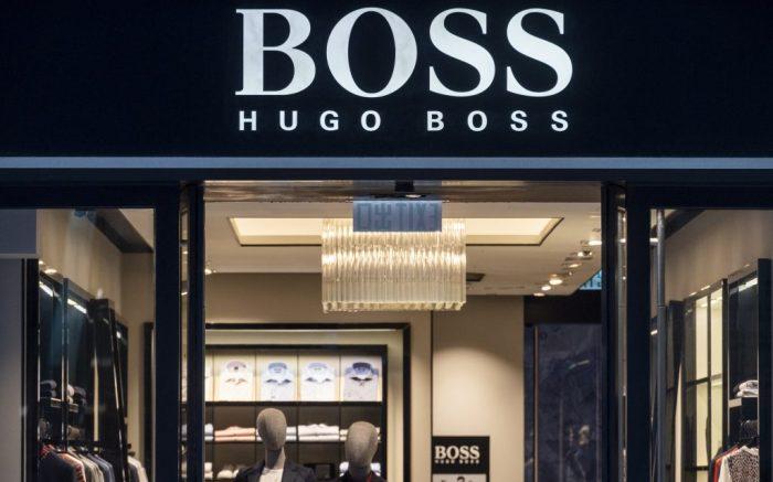 German clothing brand Hugo Boss logo seen in Hong Kong. (Photo by Budrul Chukrut / SOPA Images/Sipa USA)(Sipa via AP Images)