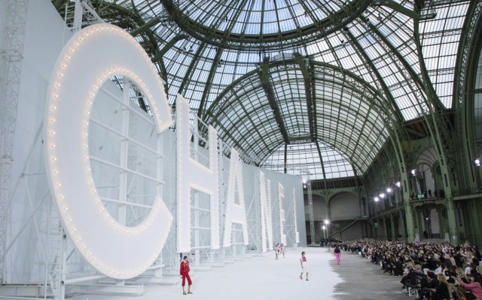 Models wear creations for the Chanel Spring-Summer 2021 fashion collection, Tuesday, Oct. 6, 2020, during Paris fashion week. (Photo by Vianney Le Caer/Invision/AP)