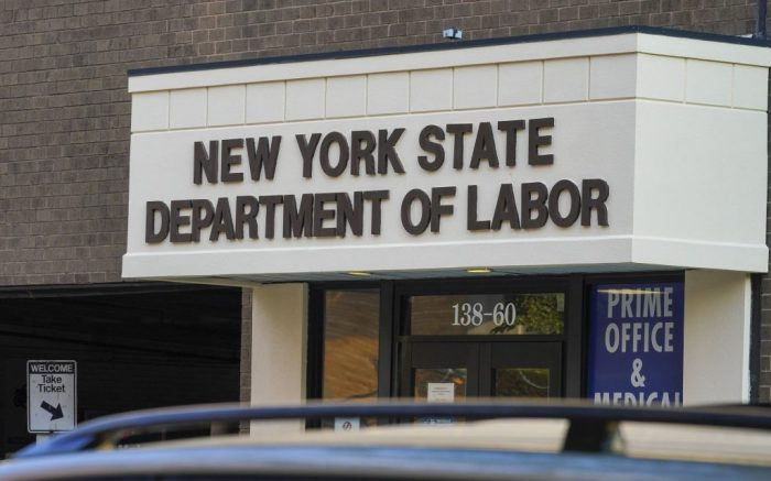 Photo by: John Nacion/STAR MAX/IPx 2020 10/20/20 A view of the New York State Department of Labor in Flushing, Borough of Queens, New York City. Social Security Announces 1.3 Percent Benefit Increase for 2021.