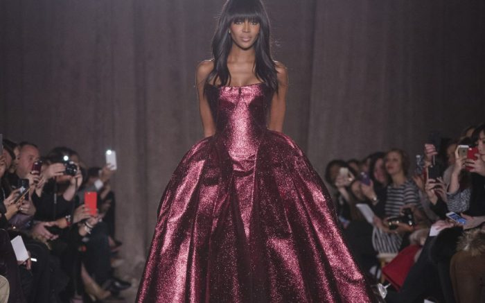 Model Naomi Campbell walks the runway as the Zac Posen Fall 2015 collection is modeled during Fashion Week, Monday, Feb. 16, 2015, in New York. (AP Photo/John Minchillo)