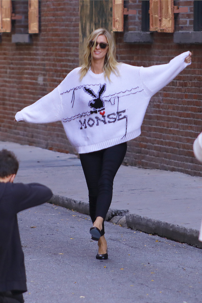 EXCLUSIVE: Nicky Hilton shows off her VOTE t shirt as she shoots a fashion campaign in the streets of Soho, NYC. 14 Oct 2020 Pictured: Nicky Hilton. Photo credit: Brian Prahl / MEGA TheMegaAgency.com +1 888 505 6342 (Mega Agency TagID: MEGA707964_014.jpg) [Photo via Mega Agency]