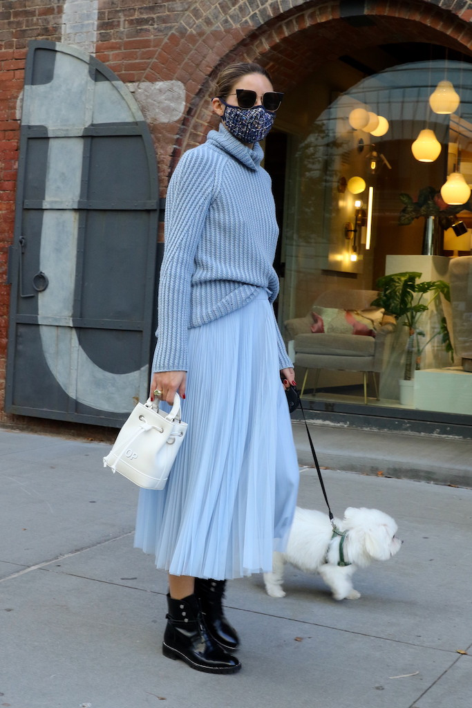 Olivia Palermo pictured wearing a light blue tulle skirt while taking her dog Mr Butler out for a walk to the park in Dumbo, Brooklyn.Pictured: Olivia Palermo Ref: SPL5194454 251020 NON-EXCLUSIVE Picture by: Jose Perez / SplashNews.com Splash News and Pictures USA: +1 310-525-5808 London: +44 (0)20 8126 1009 Berlin: +49 175 3764 166 photodesk@splashnews.com World Rights