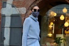 Olivia Palermo Pairs a Light Blue Sweater and Midi Skirt With These Dior Combat Boots