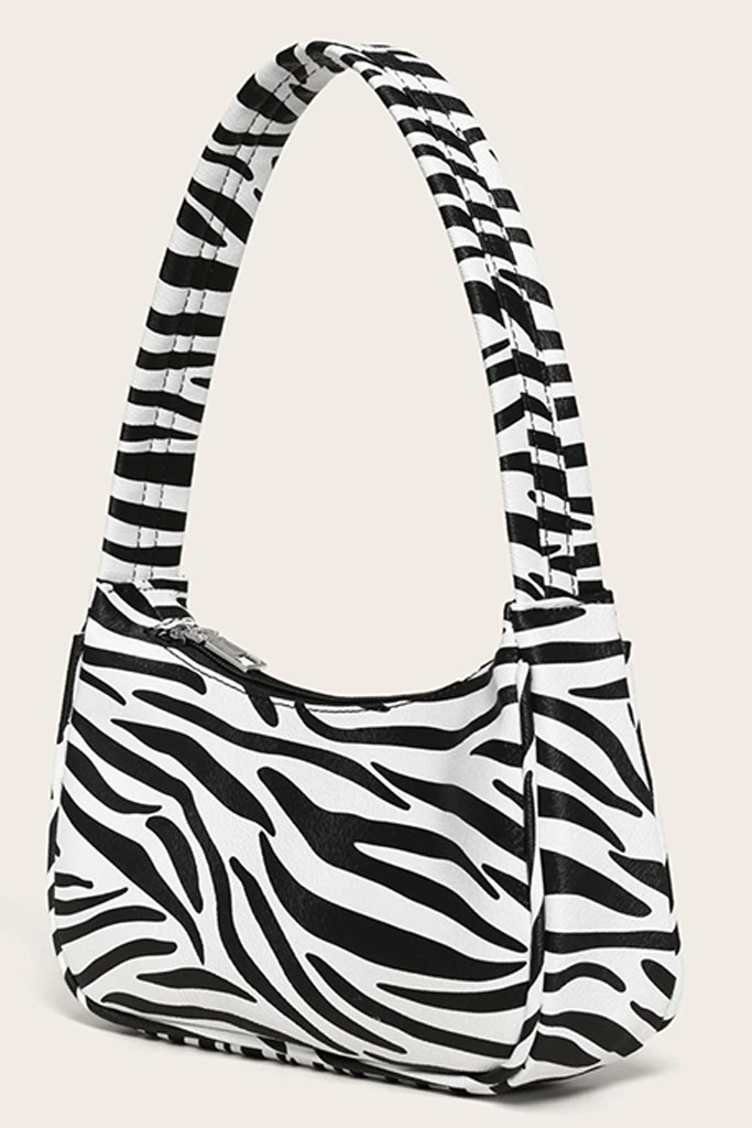zebra bag, baguette bag, clutch