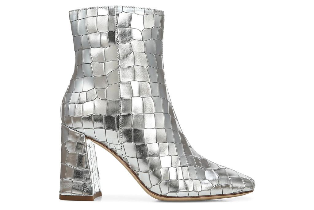 sam edelmen boot, silver boots, shiny boots