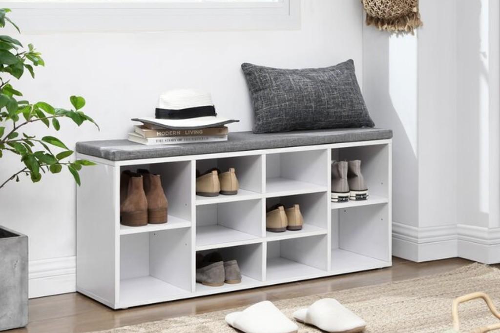 Ebern Designs Cubbie Shoe Storage Bench