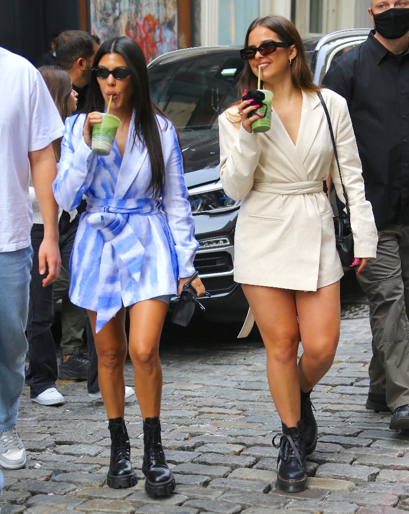addison rae, dress, blazer, boots, creepers, dr martens, prada, new york, kourtney kardashian