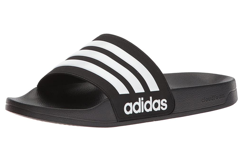 slides, sandals, black, adidas