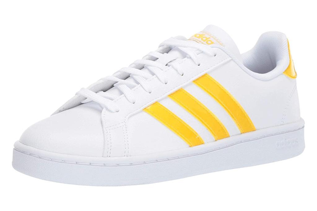sneakers, yellow, white, adidas
