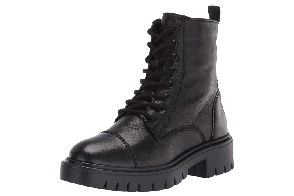 black boots, combat boots, lace-up, lug sole, aldo