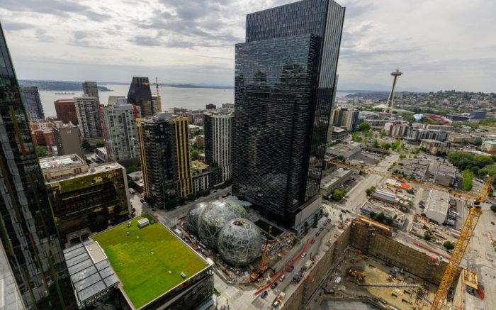 Images of Amazon's campus in Seattle, Washington, in both the downtown and South Lake Union neighborhoods. Photographed from the roof of Amazon's Port 99 building. (JORDAN STEAD / Amazon)