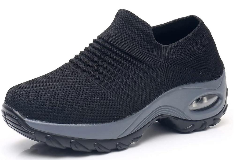 amazon walking shoes, best walking shoes for women, black sneakers
