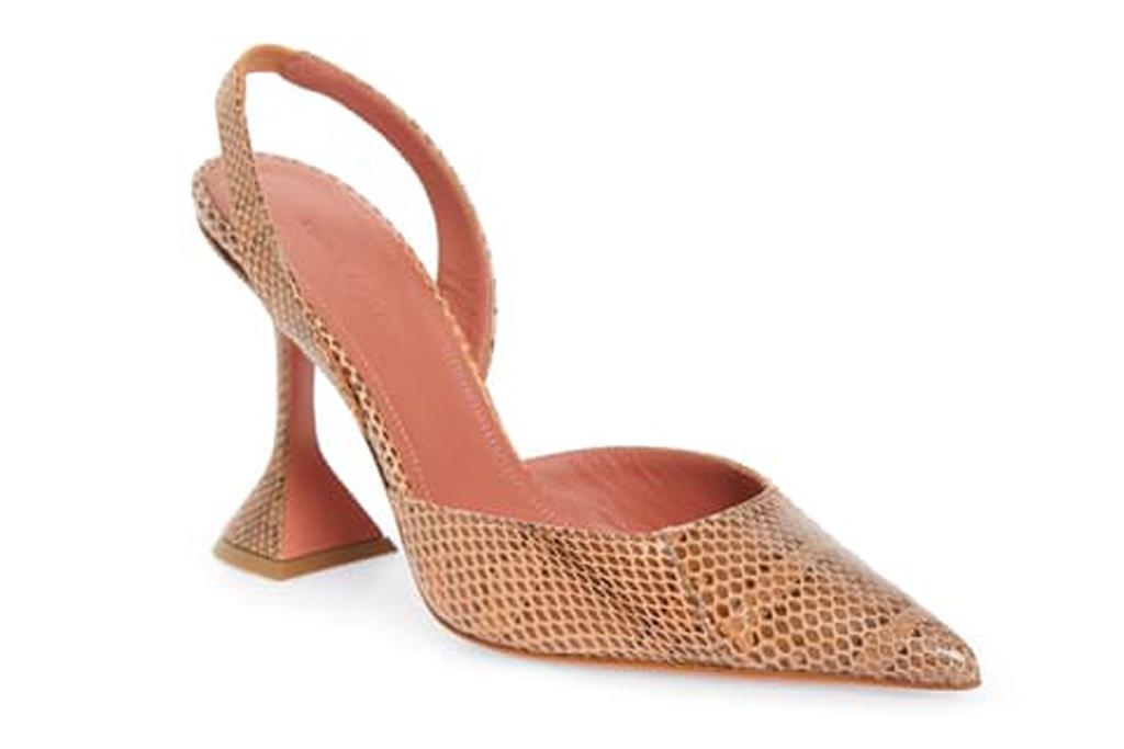 amina muaddi, heels, snakeskin, slingback