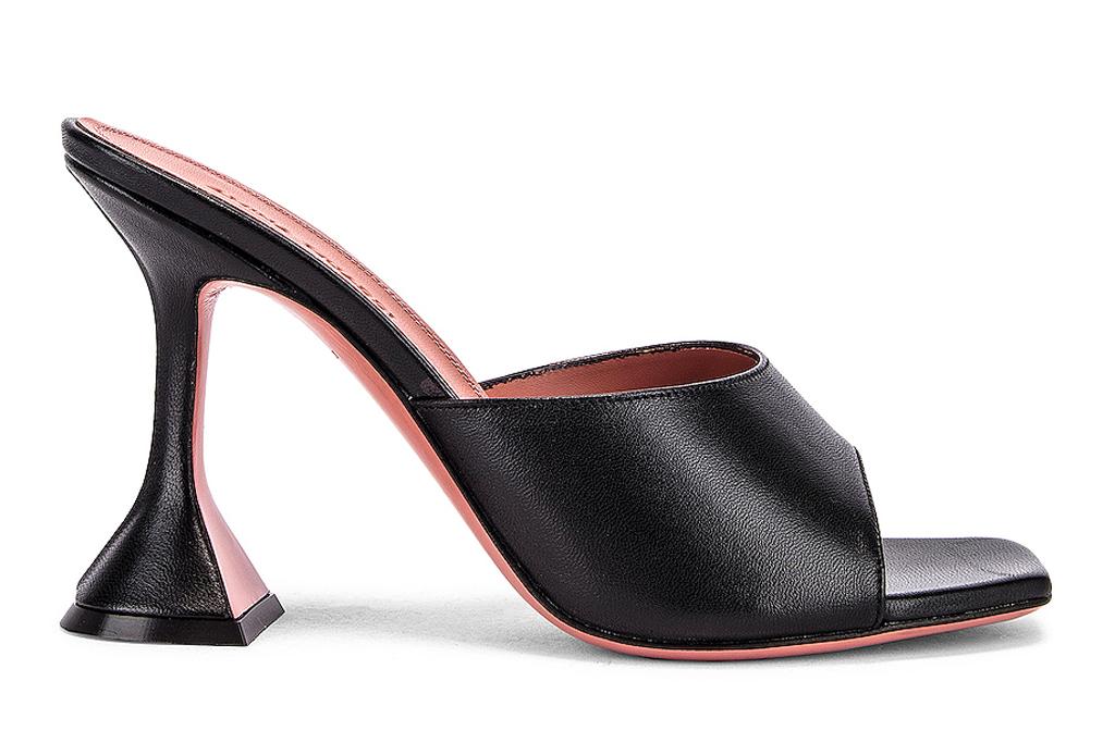 amina muaddi, luptia, heels, black, leather