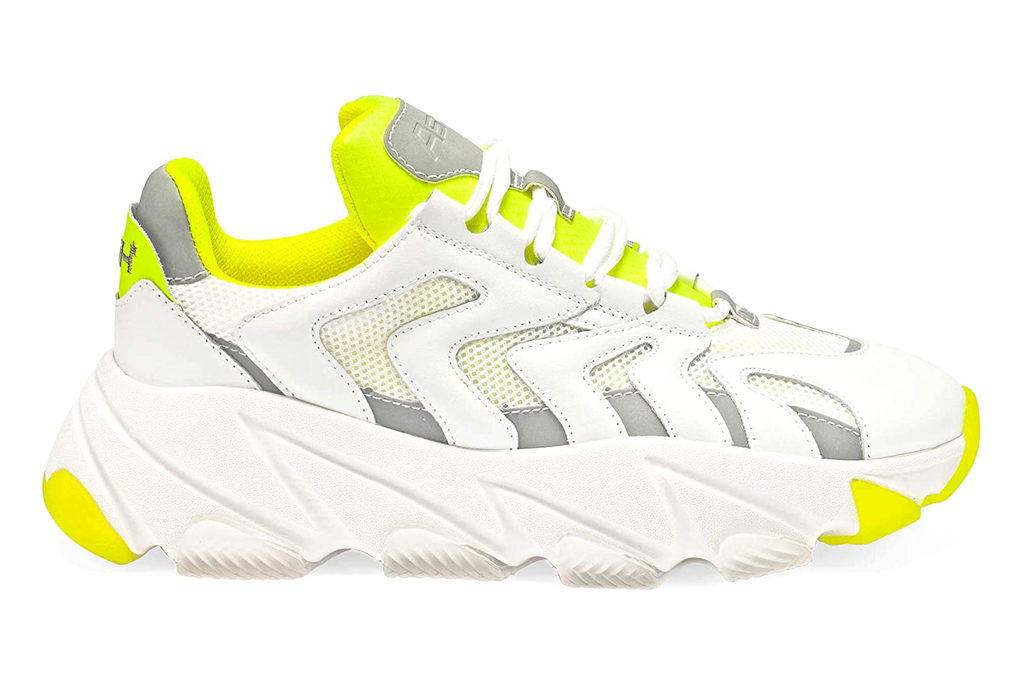 sneakers, yellow, white, chunky, ash