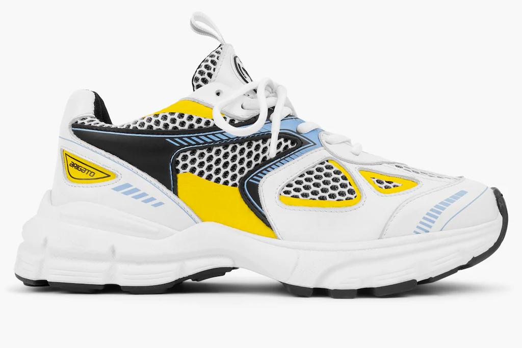 sneakers, yellow, white, chunky, axel arigatoo