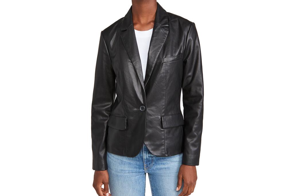 leather blazer, blazer, faux leather, fall, bb dakota