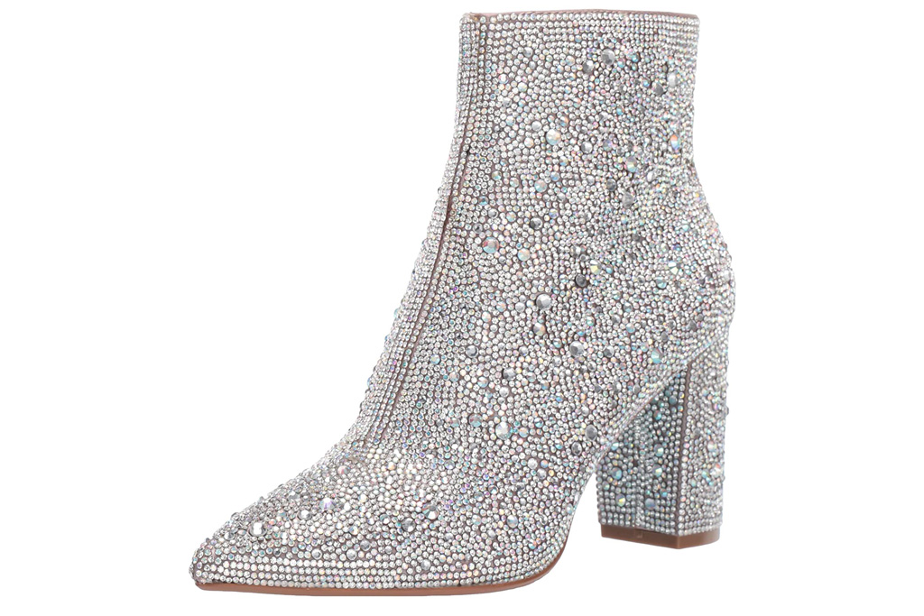 crystal boots, silver, betsey johnson
