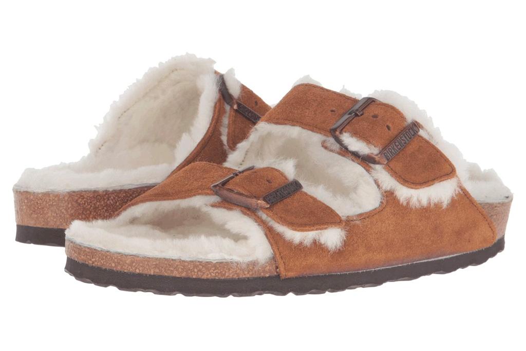 Birkenstock Arizona Shearling sandals, fuzzy, brown