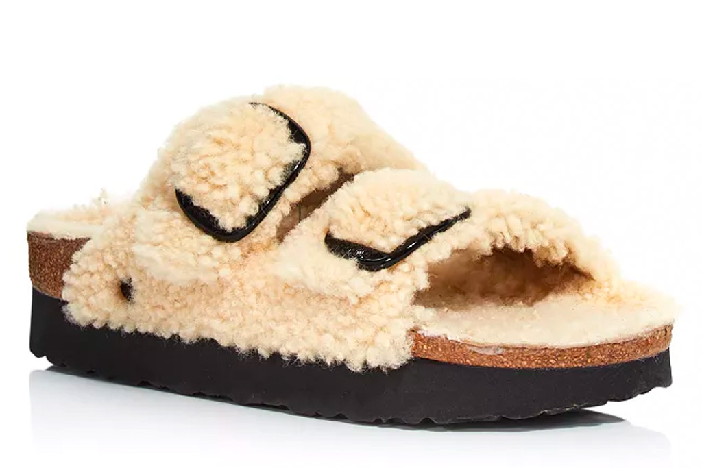 slides, sandals, fuzzy, birkenstock
