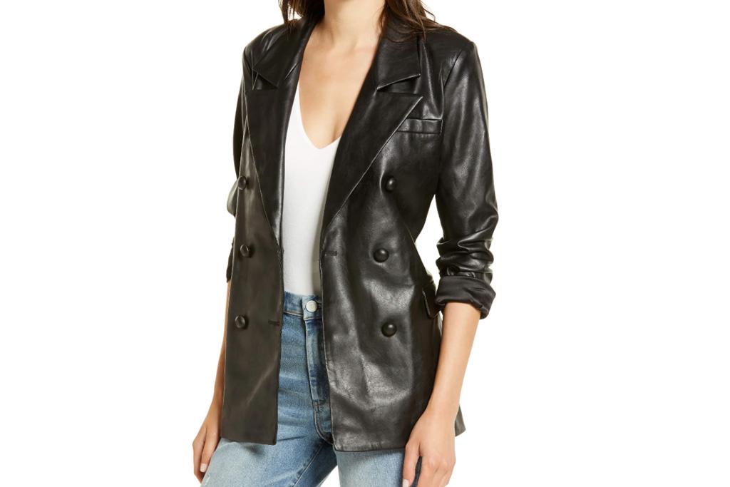 leather blazer, blazer, faux leather, fall, blank nyc